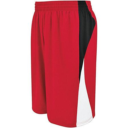 Youth Campus Shorts reversibles Scarlet / negro / blanco Baloncesto Single Jersey &
