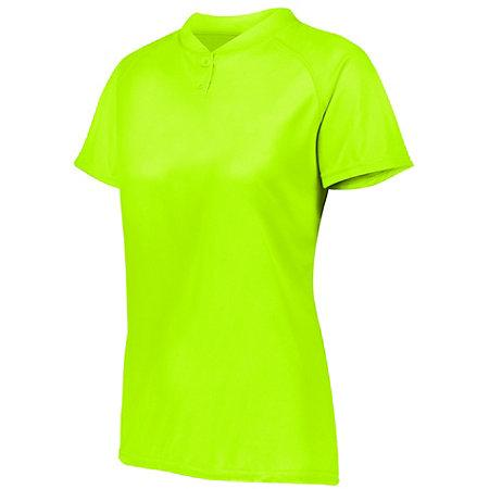 Ladies Attain Two-Button Jersey Lime Softball