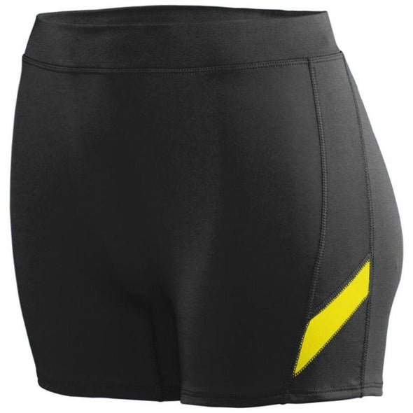 Ladies Stride Shorts Black/power Yellow Adult Volleyball