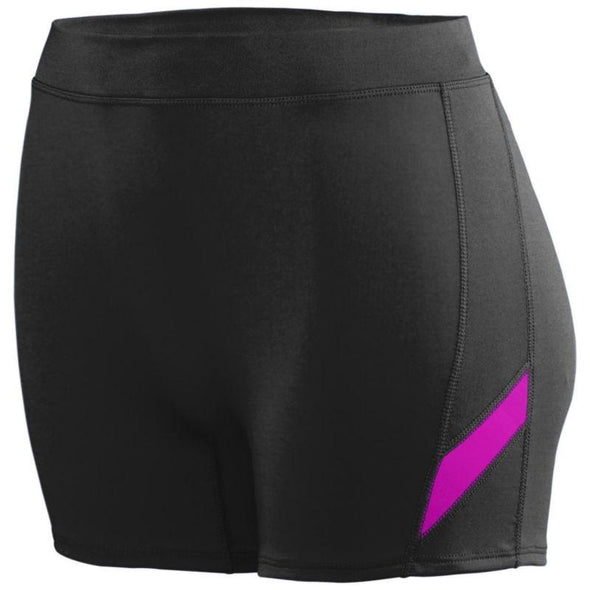 Ladies Stride Shorts Black/power Pink Adult Volleyball