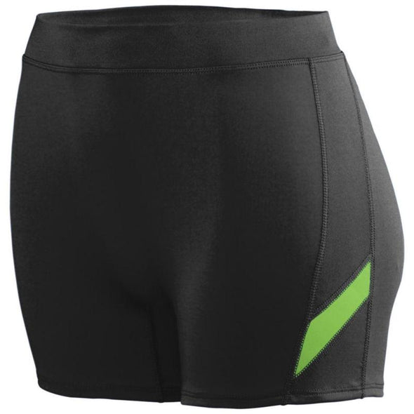 Ladies Stride Shorts Black/lime Adult Volleyball
