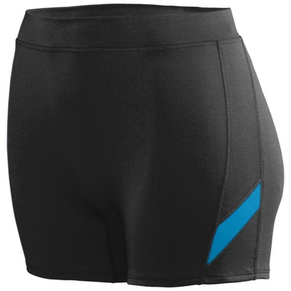 Ladies Stride Shorts Black/power Blue Adult Volleyball