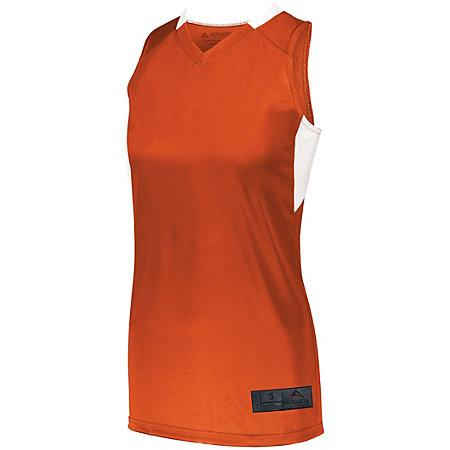 Señoras Step-Back Baloncesto Jersey Naranja / blanco Single & Shorts
