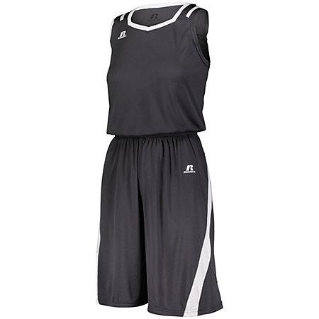 Shorts de corte atlético para damas Stealth / blanco Baloncesto Single Jersey &