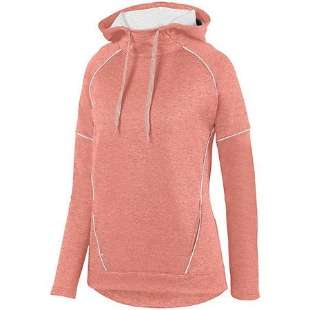 Ladies Zoe Tonal Heather Hoodie Coral/white Basketball Single Jersey & Shorts