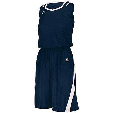 Ladies Athletic Cut Shorts Navy/white Basketball Single Jersey &
