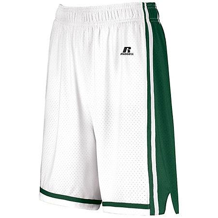 Ladies Legacy Basketball Shorts White/dark Green Single Jersey &