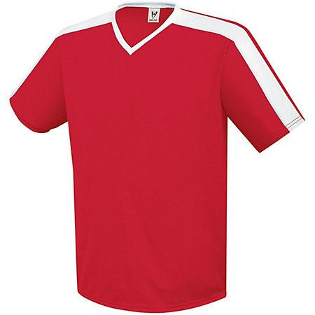 Youth Genesis Soccer Jersey Scarlet / white Single & Shorts