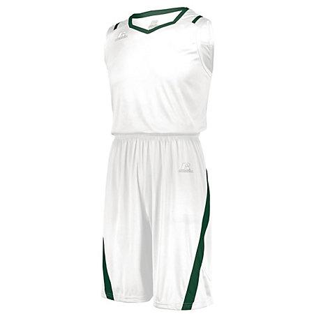 Athletic Cut Jersey Blanco / verde oscuro Adulto Baloncesto Single & Shorts