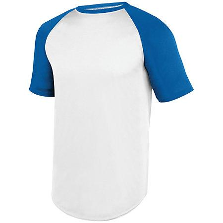 Wicking Short Sleeve Baseball Jersey White/royal Adult Baseball