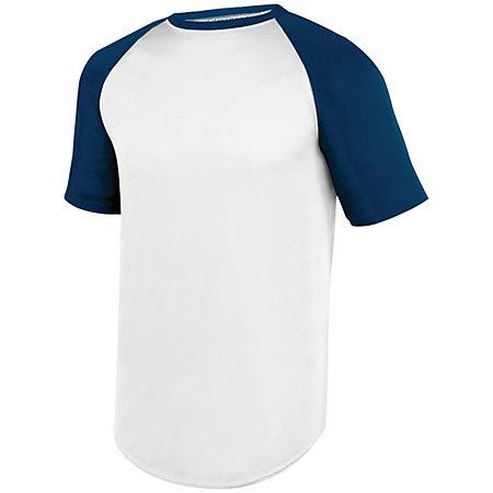 Wicking Short Sleeve Baseball Jersey White/navy Adult Baseball