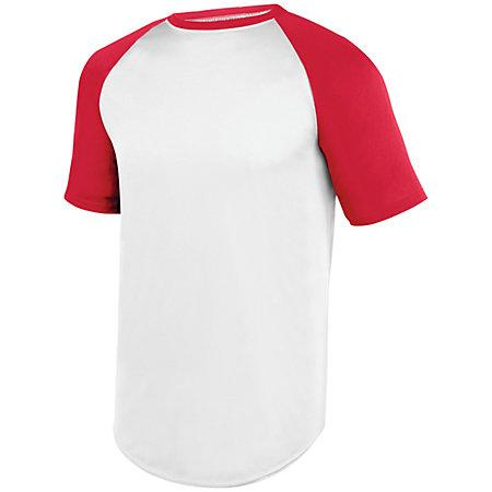 Wicking Short Sleeve Baseball Jersey White/red Adult Baseball