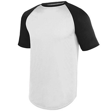 Wicking Short Sleeve Baseball Jersey White/black Adult Baseball