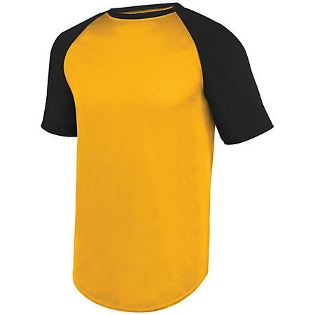 Wicking Short Sleeve Baseball Jersey Gold/black Adult Baseball