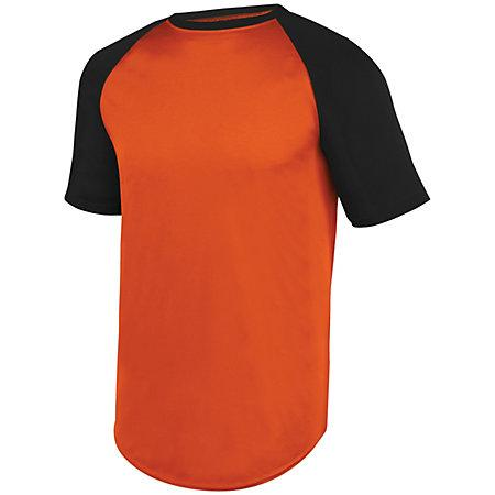 Wicking Short Sleeve Baseball Jersey Orange/black Adult Baseball