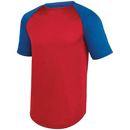 Wicking Short Sleeve Baseball Jersey Red/royal Adult Baseball