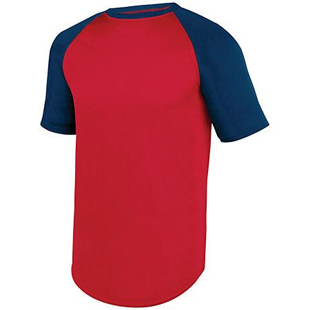 Wicking Short Sleeve Baseball Jersey Red/black Adult Baseball