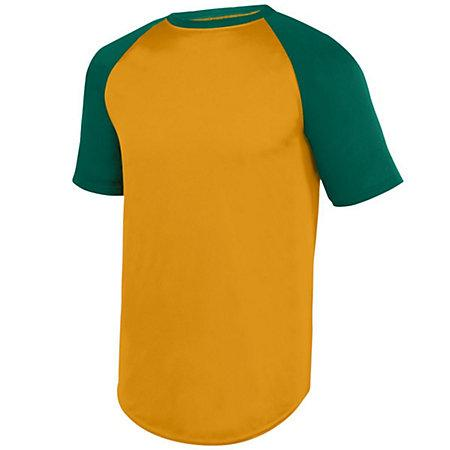 Wicking Short Sleeve Baseball Jersey Gold/dark Green Adult Baseball