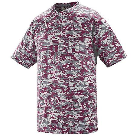 Digi Camo Wicking Two-Button Jersey Maroon Adult Baseball