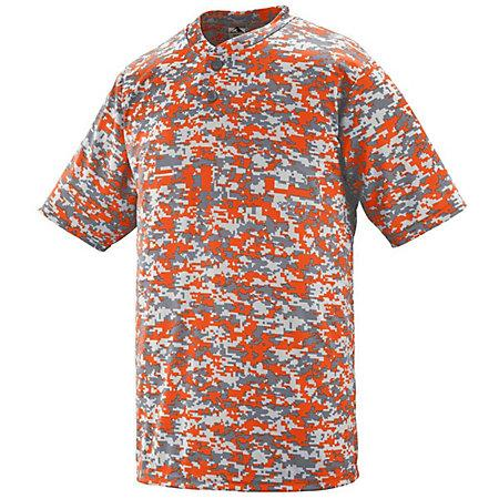 Digi Camo Wicking Two-Button Jersey Orange Adult Baseball