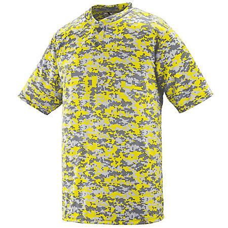 Digi Camo Wicking Two-Button Jersey Power Yellow Adult Baseball