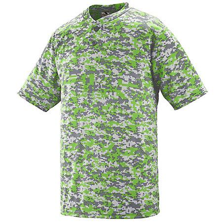 Digi Camo Wicking Two-Button Jersey Lime Adult Baseball