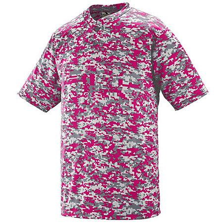 Digi Camo Wicking Two-Button Jersey Red Adult Baseball