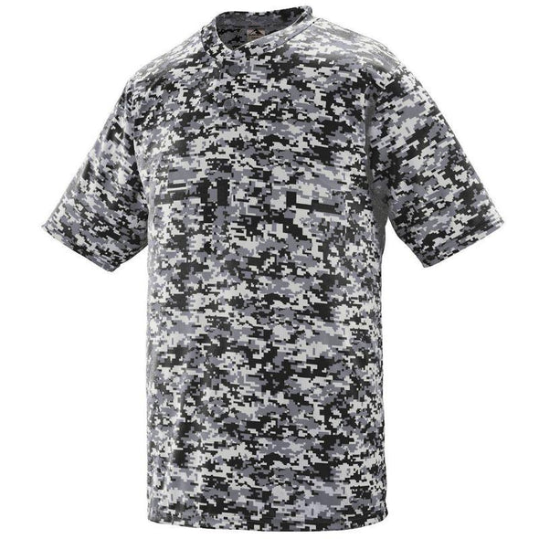 Youth Digi Camo Wicking Two-Button Jersey Black Baseball