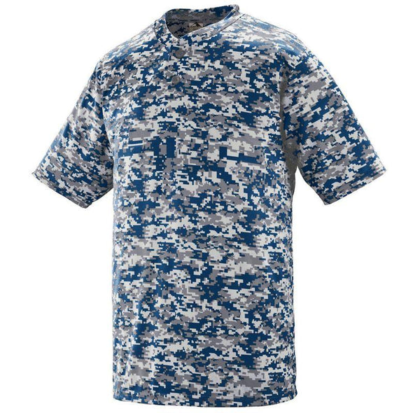 Youth Digi Camo Wicking Two-Button Jersey Power Blue Baseball