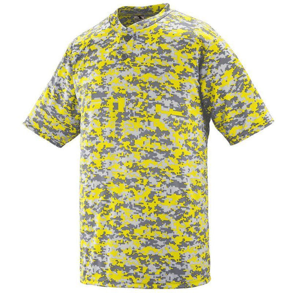 Youth Digi Camo Wicking Two-Button Jersey Dark Green Baseball