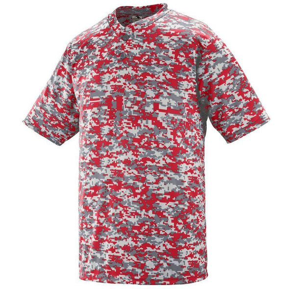 Youth Digi Camo Wicking Two-Button Jersey Red Baseball