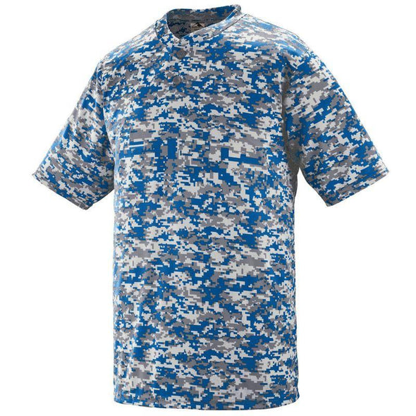 Youth Digi Camo Wicking Two-Button Jersey Royal Baseball