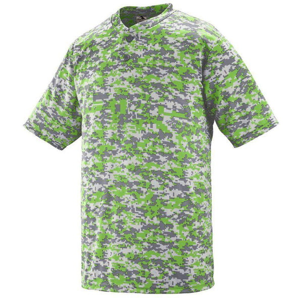 Youth Digi Camo Wicking Two-Button Jersey Lime Baseball