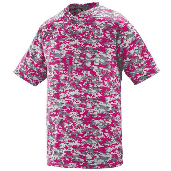 Youth Digi Camo Wicking Two-Button Jersey Power Pink Baseball