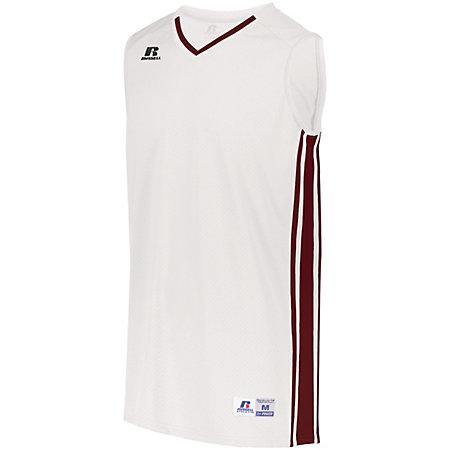 Legacy Basketball Jersey White/cardinal Adult Single & Shorts