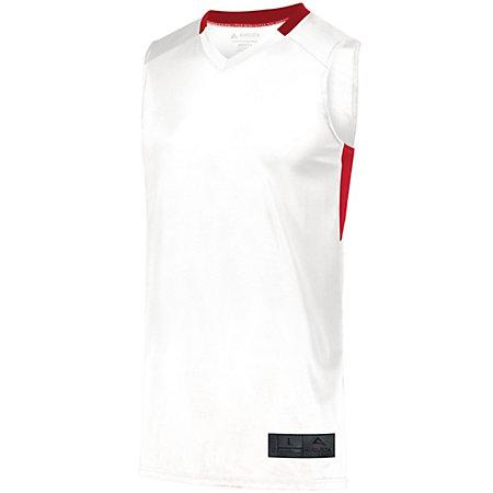 Step-Back Baloncesto Jersey Blanco / rojo Adulto Single & Shorts