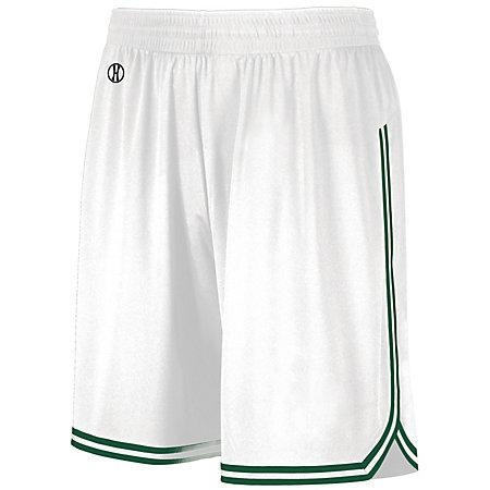 Retro Basketball Shorts White/forest Adult Single Jersey &