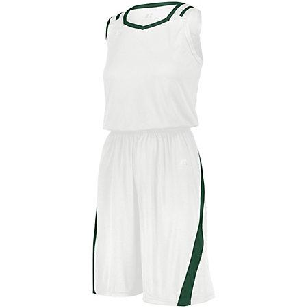 Ladies Athletic Cut Shorts White/dark Green Basketball Single Jersey &