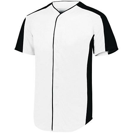 Full Button Baseball Jersey White/black Adult