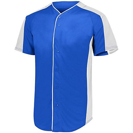 Full Button Baseball Jersey Royal/white Adult