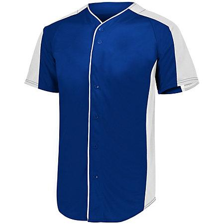 Full Button Baseball Jersey Navy/white Adult