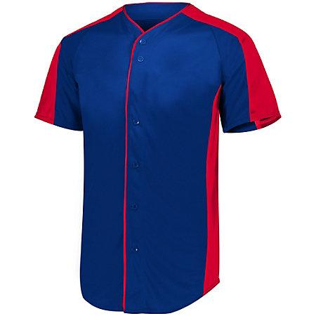 Full Button Baseball Jersey Navy/red Adult