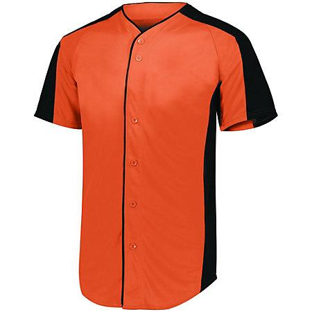 Full Button Baseball Jersey Orange/black Adult