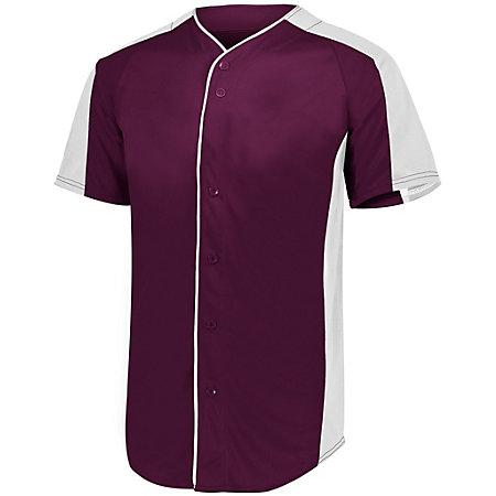 Full Button Baseball Jersey Maroon/white Adult