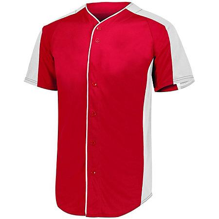 Full Button Baseball Jersey Red/white Adult