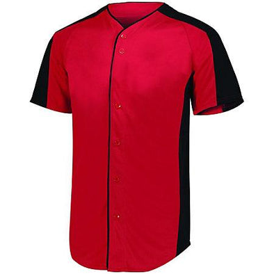 Full Button Baseball Jersey Red/black Adult