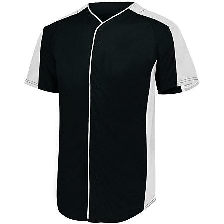 Full Button Baseball Jersey Black/white Adult