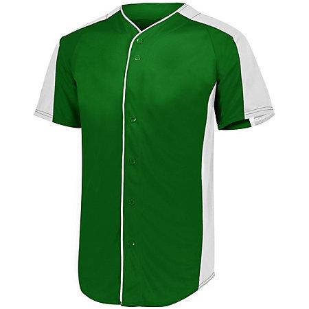 Full Button Baseball Jersey Dark Green/white Adult