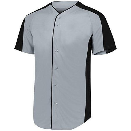 Full Button Baseball Jersey Blue Grey/black Adult