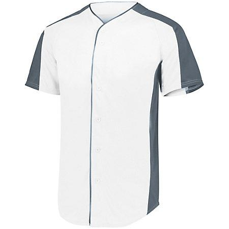 Full Button Baseball Jersey White/graphite Adult